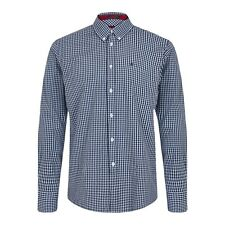 Merc Japster Men's Cool Blue And White Gingham Check Long Sleeve Shirt RRP £55