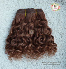Wefted mohair wavy curly hair brown Blythe BJD Waldorf natural 550cm doll making