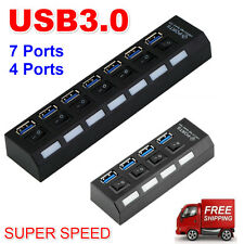 7Ports USB 3.0 Hub with On/Off Switch+UK AC Power Adapter for PC Laptop Lot ED