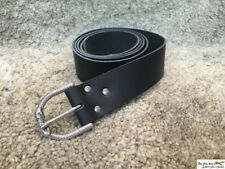 Medieval leather long belt with highly detailed snake buckle. LARP, cosplay.