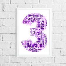 Birthday Prints Personalised Word art 1st 2nd 3rd 4th 5th 6th 7th 8th Birthday
