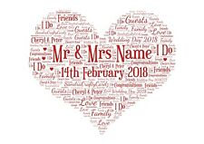 Wedding Day Print Personalised Word Art Gift Marriage Heart Present