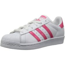 adidas Originals Superstar J Bianco/Rosa Reale In Pelle Gioventù Trainers