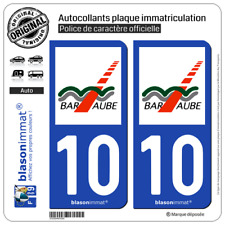 2 Stickers autocollant plaque immatriculation : 10 Bar-sur-Aube - Agglo