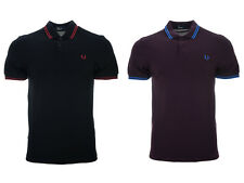 Mens Fred Perry Polo Shirt M3600 Twin Tipped Bramble Prince F25 Black Red F24
