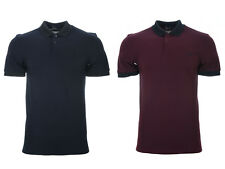 Mens Fred Perry Polo Shirt M3504 Matt tipped pique collar Mahogany 799 Navy 608