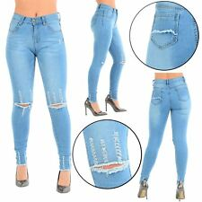 Womens Ladies Faded Knee Cut Ripped Destroyed Frayed Hem Skinny Fit Denim Jeans