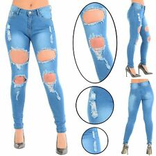 Womens Ladies Extreme Ripped Distressed Destroyed Hole Skinny Fit Denim Jeans