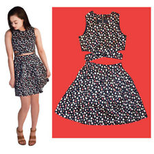 Ladies Floral Print Gold Zip Crop top with Matching Mini Skirt Co-ord Dress Set
