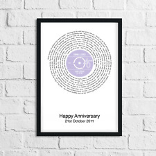 Personalised John Legend Record Print Wedding / Paper Anniversary Gift Picture