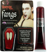 Neuf VAMPIRE DRACULA Canines Halloween capuchons dents faux sang adhésif