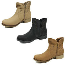 WOMENS LADIES LOW BLOCK HEEL ZIP UP CHELSEA STYLE ANKLE BOOTS SHOES SIZE 3-8