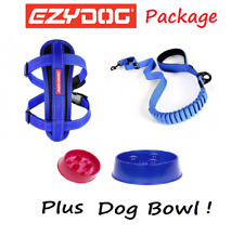 EZYDOG PACKAGE BLUE Zero Shock 48 Dog Lead & Chest Plate Harness - FREE BOWL