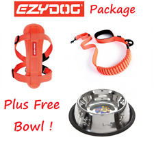 EZYDOG PACKAGE ORANGE Zero Shock 48 Dog Lead & Chest Plate Harness - FREE BOWL