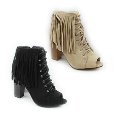 WOMENS LADIES PEEP TOE HIGH BLOCK HEEL LACE UP TASSEL ANKLE BOOTS SHOES SIZE 3-8