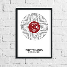Personalised Record Poster Anniversary Gift Favourite Song Lyrics 1st Dance