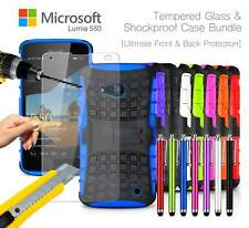 MICROSOFT LUMIA 550 anti-urto CORAZZA CUSTODIA COVER , STILO & VETRO TEMPERATO