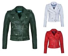Ladies Brando Leather Jacket Slim Fitted Biker Style REAL 100% LEATHER (MB-124)