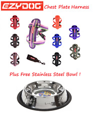 EZYDOG Chest Plate Dog Harness All Colours EX LARGE Stainless & Steel Food Bowl