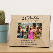 Any Age Birthday Wooden Photo Frame 6x4 or 7x5 -Personalised Gift 18th 21st 40th