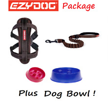 EZYDOG PACKAGE CHOCOLATE Zero Shock 25 Dog Lead & Chest Plate Harness FREE BOWL