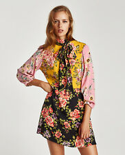 ZARA AW17 Floral Patchwork Print Bow Dress Pink Yellow XS S M L BNWT