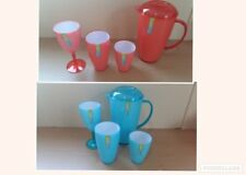 2 Tone Pink/White Blue/White Pitcher Set With Tumblers Wine Glass Partyware