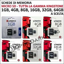 SCHEDA MEMORIA KINGSTON MEMORY CARD MICRO SD 1 4 8 16 32 64 GB PER TELEFONO