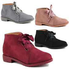 WOMENS LADIES CHELSEA LOW HEEL LACE UP RIBBON CASUAL ANKLE BOOTS SHOES SIZE 3-8