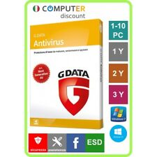 G Data Antivirus 1,2,3,4,5,6,7,8,9,10 Pc 1,2,3 anni licenza elettronica