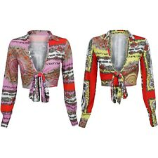 New Scarf Paisley Print Plunge V Neck Tie Waist Stretch Bodycon Blouse Crop Top