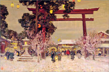 Stampa su legno View of a Shinto Shrine, c.1889 - Sir Alfred East
