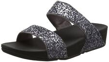 FITFLOP SIZE 6-7 PEWTER SILVER GREY GLITTERBALL SLIDE TONING FLIP FLOPS SANDALS