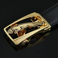 Mens Golden Jaguar Buckle Automatic Leather Ratchet Fashion Buckle Belt
