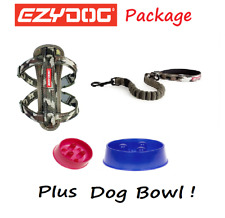 EZYDOG PACKAGE CAMO Zero Shock 25 Dog Lead & Chest Plate Harness - FREE BOWL