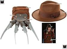 HALLOWEEN FREDDY KRUEGER FRIGHT GLOVE SINGLE GLOVE & HAT FANCY DRESS SET DELUXE