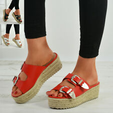New Womens Slip On Wedge Espadrille Platform Sandals Ladies Peep Toe Shoes