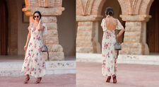ZARA STUDIO Floral Print Long Flowing Maxi Dress Sand XS S M L BNWT