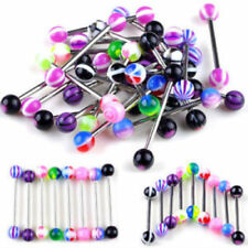NEW Tongue Bars Surgical Steel Barbell Rings Mixed Ball Body Piercing Jewelry