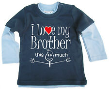 """Bebé Top Patinadora """"I Love My Brother SISTER HERMANAS This Much"""" Regalo"""