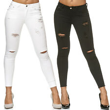 Femme Treggings Jeans Détruit Pantalon Jeggings Stretch Tube déchiré nouveau