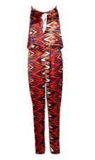 Boohoo Zig-Zag Print Culotte Cut Side Jumpsuit party festival  size 8 10 new