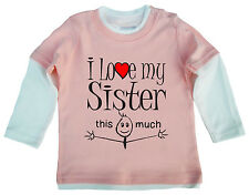 """Bebé Top Patinadora """"I LOVE MY SISTER HERMANAS Brother This Much"""" Regalo"""