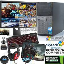 FAST GAMING DELL HP TOWER PC FULL SET COMPUTER QUAD CORE i5 GT 730 2GB HDMI