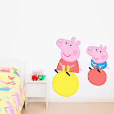 Official Peppa Pig and George Pig on space hoppers wall stickers | Wall decor