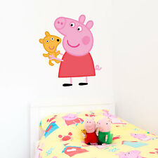 Official Peppa Pig with teddy wall sticker | Official Peppa Pig decor
