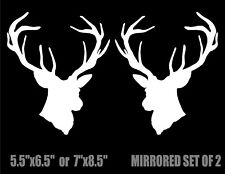 Deer Head Silhouette Decals car truck vinyl hunting stickers mirrored image set