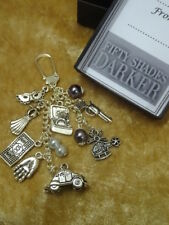 Fifty Shades Darker Keepsake Key Charm Gift Car Silver Balls Hand Ring Gun Money