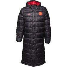 adidas Mens MUFC Manchester United Long Down Jacket Black/Real Red S-M