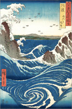 Stampa su tela View of the Naruto whirlpools at Awa - Utagawa Hiroshige